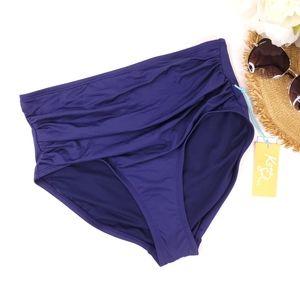 Kona Sol Navy High Waisted Bikini Bottom S NWT